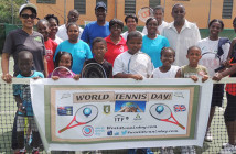 Spearheaded by Carol Mitchell, right, the Long Look Tennis Club observed World Tennis Day on Monday at the Long Look Tennis Court. The session, which ran from 6 a.m. to 1 p.m. was sponsored by Road Town Wholesale, whose director Simon Potter, 3rd right and BVI Lawn Tennis Association General Secretary, Selina O'Neal attended.
