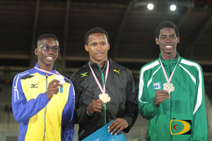 Kyron McMaster, right picked up the U18 Boys 400m bronze