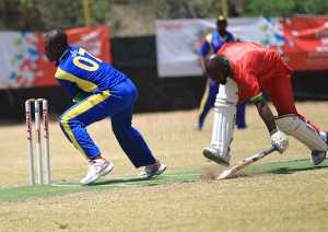 Rodney Marryshow: Grenada's Rodney Marryshow beats a throw while looking for a single against defending champions, Vincy.