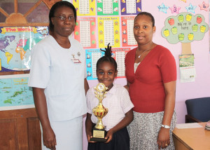 (L-R) Nurse Watson, First Place Poster Competition Winner Angeleah Cupid and Teacher Jacobs.