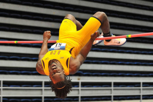 Keron Stoute clears the High Jump bar during the MEAC Championships