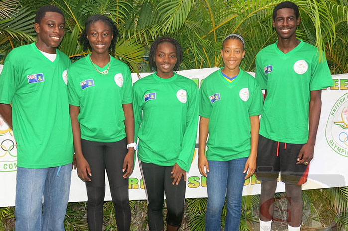"Akeem Bradshaw, left, Kala Penn, Nelda Huggins, Deya Erickson and Kyron McMaster PHOTO: Dean ""The Sportsman"" Greenaway"