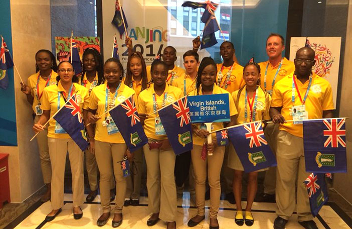 BVI's Youth Olympic Games delegation ahead of the opening ceremony in Nanjing, China on Friday