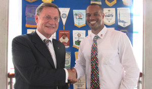 Henry Creque, President of the Rotary Club of Tortola, welcome the newest Rotarian: His Excellency Governor John Duncan OBE.