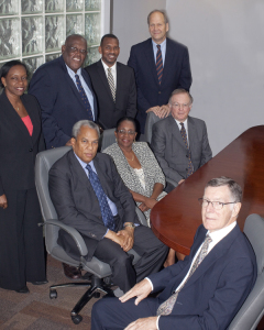 Pictured from L to R; Back Row: Board Secretary – Ms. Annet Mactavious, Managing Director/CEO – Robert Mathavious, Commissioners Ian Smith and Jonathan Fietcher. Middle Row: Deputy Chairman – Colin O'Neal and Commissioners Denise Reovan and Richard Peters. Front Row: Chairman – Robin Gaul. Not pictured Commissioner Edward Price.