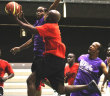 East's Wolf Pack Willis Potter tries to make a shot against the Virgin Gorda Mystics