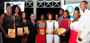 NACAC President Victor Lopez,  with the 2014 BVI Athletes of The Year Presented by Sol. [Photo Dean Greenaway]