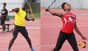 "Javelin Throwers Kevin Vanterpool, left and Arianna Hayde moved to #3 and #2 respectively on the territory's All Time List.  PHOTO CREDIT:  Dean ""The Sportsman"" Greenaway"