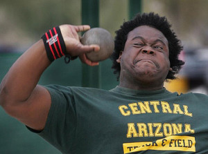 Central Arizona College's Eldred Henry picked up the top Jr. Colleges Field award after earning All America Honors in the Shot Put