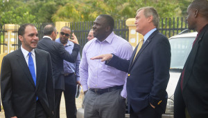 The Prince met with BVIFA Executive Members and the Hon. Marlon Penn, to see first hand the progress made on the new football stadium project at East End, Tortola,