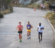The lead pack of Guy Williamson, left, Reuben Stoby and Julius Farley heading to the historic Coppermine area during Saturday's Dive BVI 5K Series race on Virgin Gorda. PHOTO: Todd Van Sickle