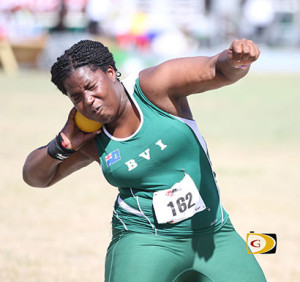 Trevia Gumbs competes in the U20 Girls Shot Put where she won a silver medal