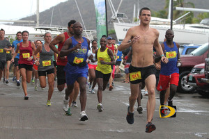 "St. John's Timothy ""TJ"" Hindes takes out the field in Saturday's Virgin Gorda Half Marathon en route to improving his own course record with a time of 1 hour 32 minutes and 05 seconds PHOTO: Dean ""The Sportsman"" Greenaway"