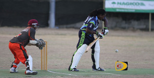 Cavaliers tail order batsman Ceon Heartman prepares to hit a ball but was instead clean bowled by Vikings pacer Roshan Hushman for a duck, during Sunday afternoon's match in Greenland