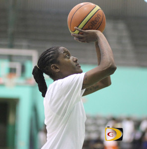 Tamara Phillips prepares to make a shot during a practice session at the Multipurpose Sports Complex