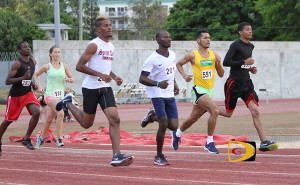 Khiry Creque, left, Julius Farley, Reuben Stoby and Tarique Creque were the early pace setters in Saturday's Blenheim Trust 5K Series finale
