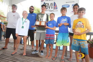 Royal BVI Yacht Club Vice Commodore, Chris Haycraft, left, with BVI Dinghy Championships division winners: L-R: Caroline Sibily, Colin Rathbun, Sam Morrel, overall winner Mia Nicolosi, Teddy Nicolosi, Kerstin Gordon and Nathan Haycraft