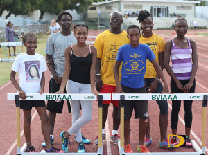 "BVI's CAC Age Group team. L-R: Aryia Smith, Malacai Smith, Alisha Hayde, Manager Ralston ""Grand Father"" Henry, Sha'el Lavacia, Xiomara ""Gia"" Malone and Tashara Edwards"