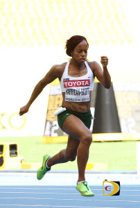 Tahesia Harrigan-Scott in action during the 2013 IAAF World Championships in Moscow, Russia