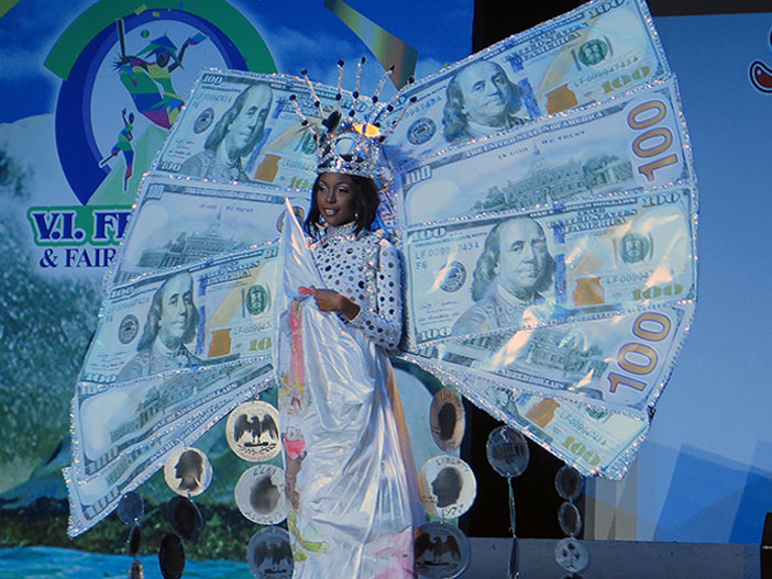 Adorya Baly's Cultural Costume depicting the BVI having the US Dollar as the legal tender since the early 1960s in tribute to Legislator Leslie Malone who spearheaded the move.