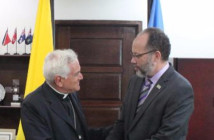 His Excellency Nicola Girasoli, Plenipotentiary Representative of the Apostolic Nuncio and Holy See to the Caribbean Community and CARICOM Secretary-General Amb. Irwin LaRocque greet each other before the Credentials Ceremony on Thursday at the CARICOM Secretariat.