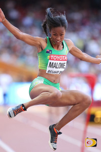 Chantel Malone in flight during her best jump of 6.46m at the 15th IAAF World Championships in Beijing, China last Thursday