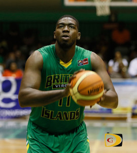 Kleon Penn focuses on the rim as he prepares to make a free throw during the BVI vs Bahamas game in the 2015 CBC Championships