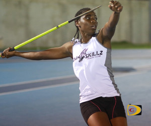 Britney Peters of Virgin Gorda, prepares to unleash her career best throw of 37.39m