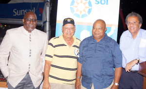"Current BVI Athletics Association President Dean ""The Sportsman"" Greenaway with former President's Johnny Hassan, John Lewis and Rey O'Neal. Photo Credit: Cleave M. Farrington"