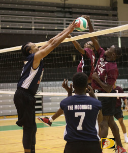 Just Dream's Curtis Davis, left, blocks the Gunz's attempt late in the game
