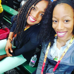 Tahesia Harrigan-Scott, left and Ashely Kelly at the 15th IAAF World Indoor Championships