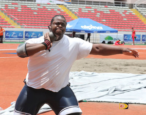 Eldred Henry working on the Shot Put