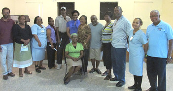 President Nurse Nora Manns (seated) with her Board Members. At extreme left Bennet Smith, VP BVI Diabetes Association, at right Elton Georges, President BVI Diabetes Association (Photo by Astrid C Wenzke)