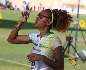 "Lakeisha ""Mimi"" Warner, gives thanks after earning an U20 Girls 400m Hurdles silver medal in a National Record time of 58.14 seconds"