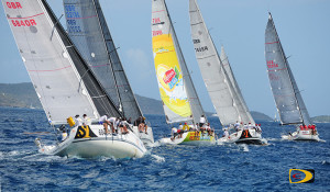 After rounding Thatch Island, sailors head to mark Sandy Cay during the 45th BVI Spring Regatta