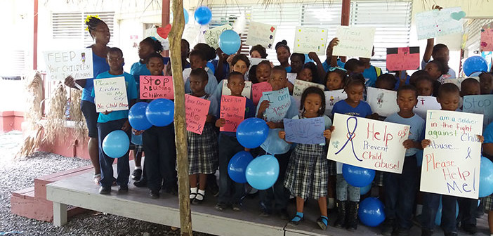 Jost Van Dyke School Wears Blue To Observe Child Abuse Month- Photo credit: Provided by Ms. Lavern Blyden