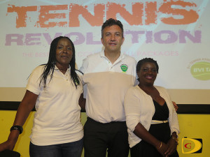 BVI Tennis Association president Carol Mitchell, left, Mike Barrel and public relations officer Dionne Liverpool.