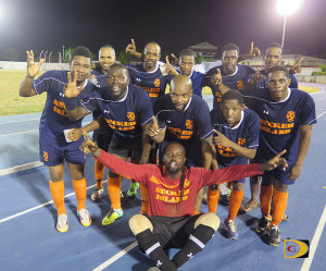 "Virgin Gorda Sugar Boys celebrating their third successive Wendol ""Poto"" Williams Cup on Sunday"