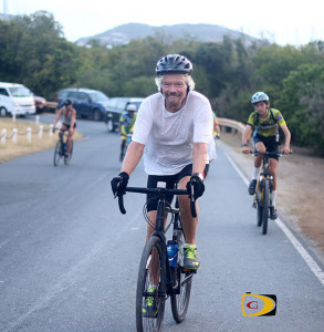 Sir Richard Branson was among the 27 Tour de Tortola riders, won by his guest, Wade Davis