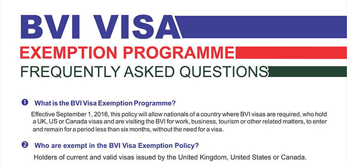 BVI Visa Exemption Programme To Go Into Effect September 1