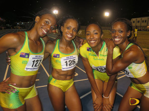 Ashley Kelly, left, Tahesia Harrigan-Scott, Chantel Malone and Karene King