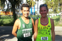 Reuben Stoby, left and Kat Brownsdon were the top male and female finishers in Saturday's 21st College Classic Series opener on Virgin Gorda