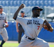 """BVI's Nateshon """"Shadow"""" Thomas pitching for Great Britain against Russia"""