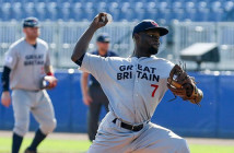"BVI's Nateshon ""Shadow"" Thomas pitching for Great Britain against Russia"