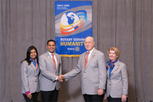 Vandana & DG Haresh L. Ramchandani, shaking hands with Rotary International President John F. Germ and First Lady of Rotary Judy in Seoul, Korea this year