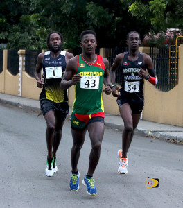 Grenada's Renon Radix, center, USVI's Shane DeGannes, left and Antigua and Barbuda's Kalique St. Jean, battling at the 10-miles mark, making it the most competitive race in its 11-year history.