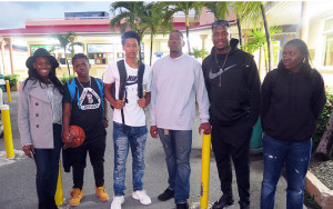 Natasha Melville, left, Mahkayla Pickering, Demoi Bradley, Omar Walker, Jason Edwin and Shauliqua Fahie, enjoyed an NBA Authentic Experience in New York