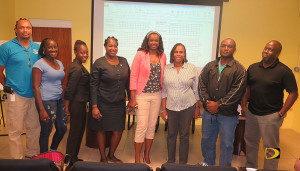 New BVI Volleyball Association Executive Committee. L-R: Curtis Davis, Henrietta Alexander, Desiree Farrington, Maria Drigo, Sabinah Clement, Kisheba Sprauve-Callwood, Al-Qumin Nibbs and Willis Potter