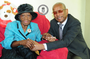 Premier of the Virgin Islands, Dr. the Honourable D. Orlando Smith, OBE and centenarian, Mrs. Christalia Idalia Hodge.(Photo credit: GIS/ Ronnielle Frazer)