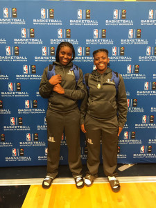 Shauliqua Fahie, left and Mahkayla Pickering at the NBA's Basketball Without Borders Camp in New Orleans: Photo courtesy of the NBA